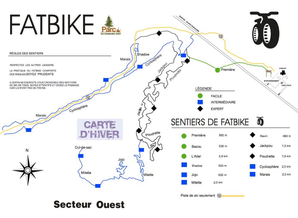Carte Fat bike Parc du Domaine Vert