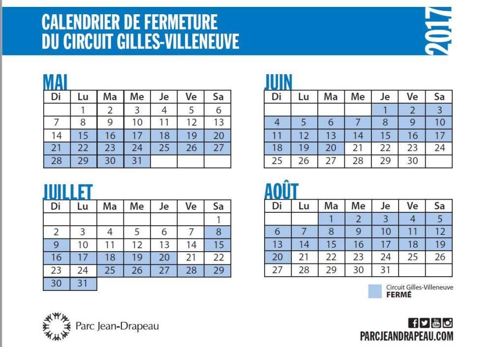 Calendrier du circuit Gilles-Villeneuve