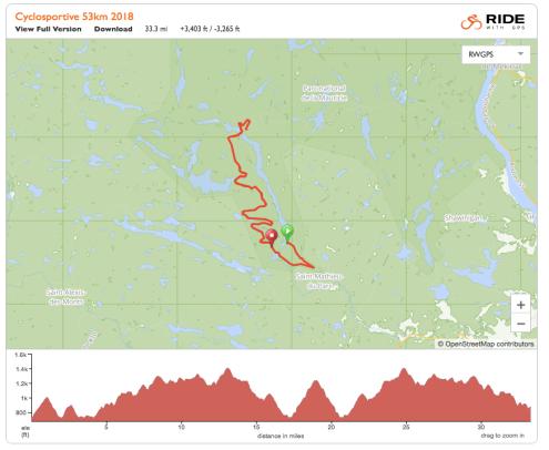 Cyclosportive Défis du Parc de la Mauricie 2018 53 km